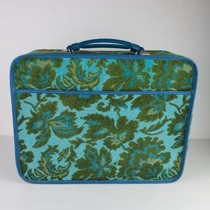 Vtg Avon Lady Tapestry Small Suitcase Retro